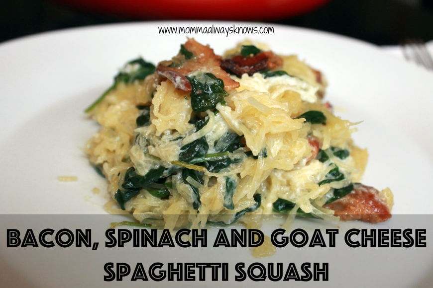 Bacon Spinach and Goat Cheese Spaghetti Squash