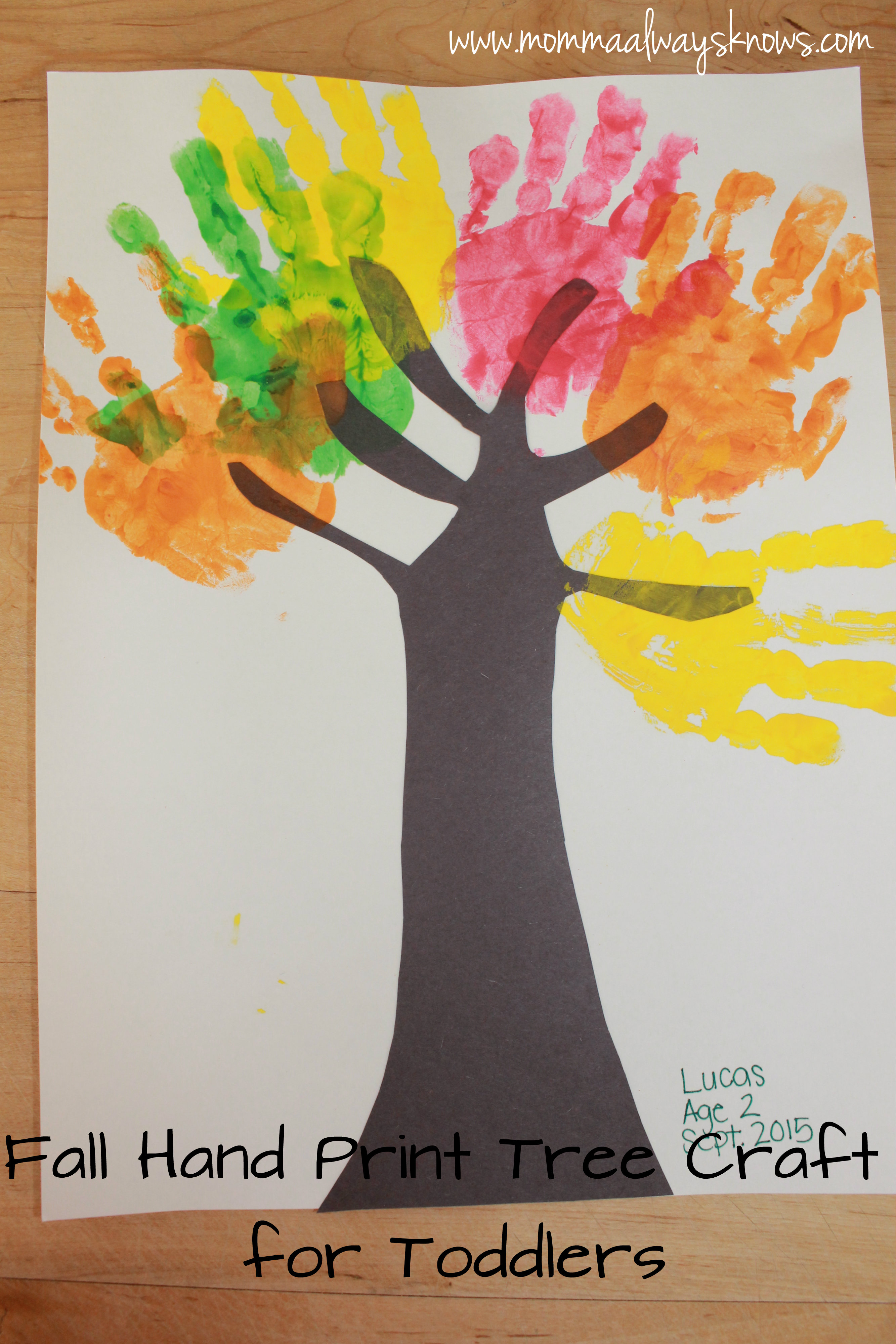 Fall Hand Print Tree Craft For Toddlers Mommaalwaysknows